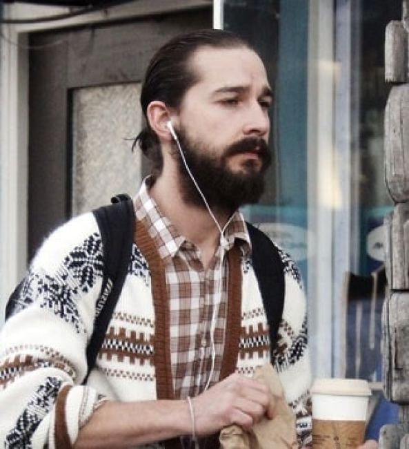 Shia LaBeouf with Medium Ponytail and Thick Bandholz Beard
