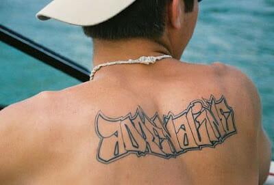 Graffiti Style Back Tattoo Design