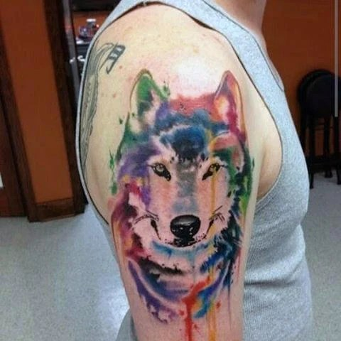 Colourful Wolf Tattoo