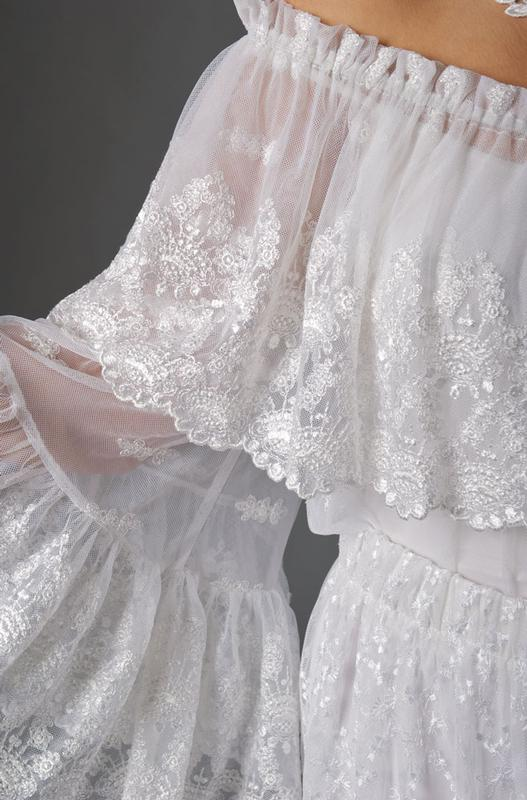 Ann N Eve Collection Western Wedding Blouse Peasant Lace Romantic White 1X3X