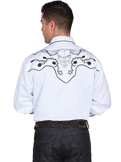 Scully Mens Vintage Western Shirt Embroidered Longhorn Skull and Roses White