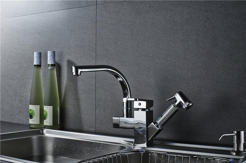 ouukey double handles kitchen faucet