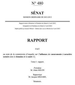 Rapport du Sénat «Mouvements sectaires et santé»: morceaux choisis et commentaires
