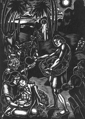 La multiplication des pains. Gravure sur bois de Hanna Dallos (1933)