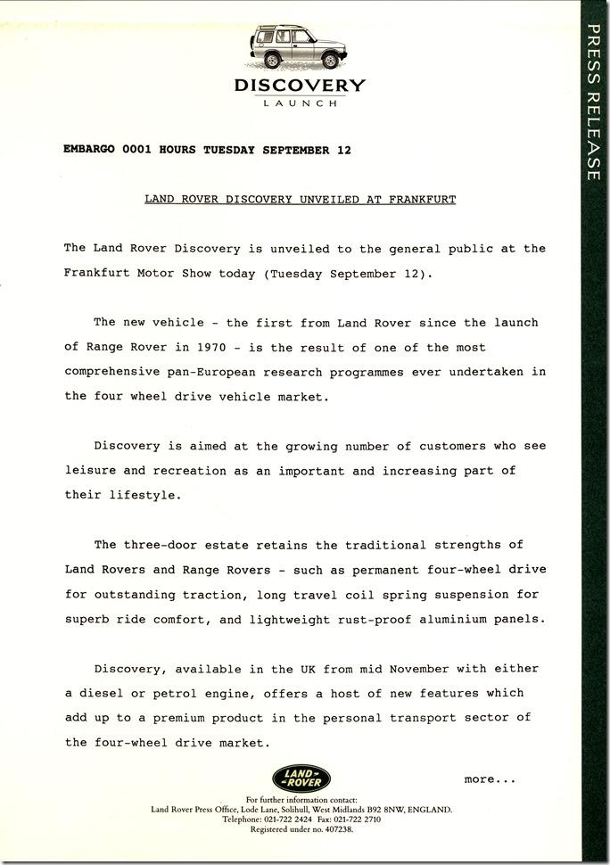 Land Rover Discovery - Original Press Kit (1)