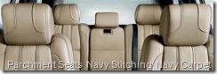 Parchment Seats  Navy Stitching  Navy Carpet