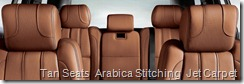Tan Seats  Arabica Stitching  Jet Carpet