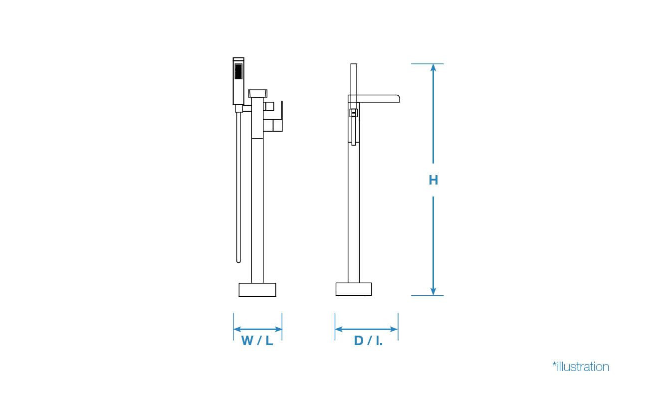 OVE DECORS Hope Chrome Freestanding standard faucet and