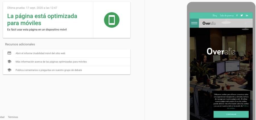 Prueba de optimización para móviles de Google sobre la web de Overalia
