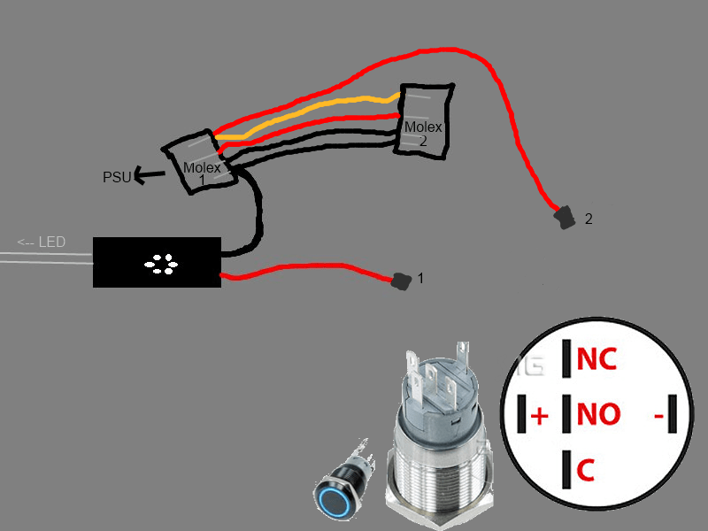 6 pin momentary switch wiring diagram bmw e46 2001 radio connecting internal leds to switches phobya vandal overclock net i did draw a little you can see the led wires and my button what should connect