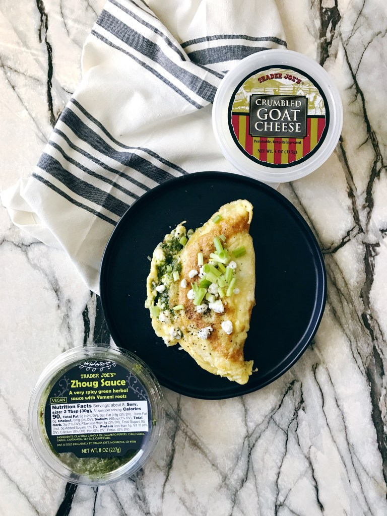 easy omelette made with three ingredients, all from Trader Joes!