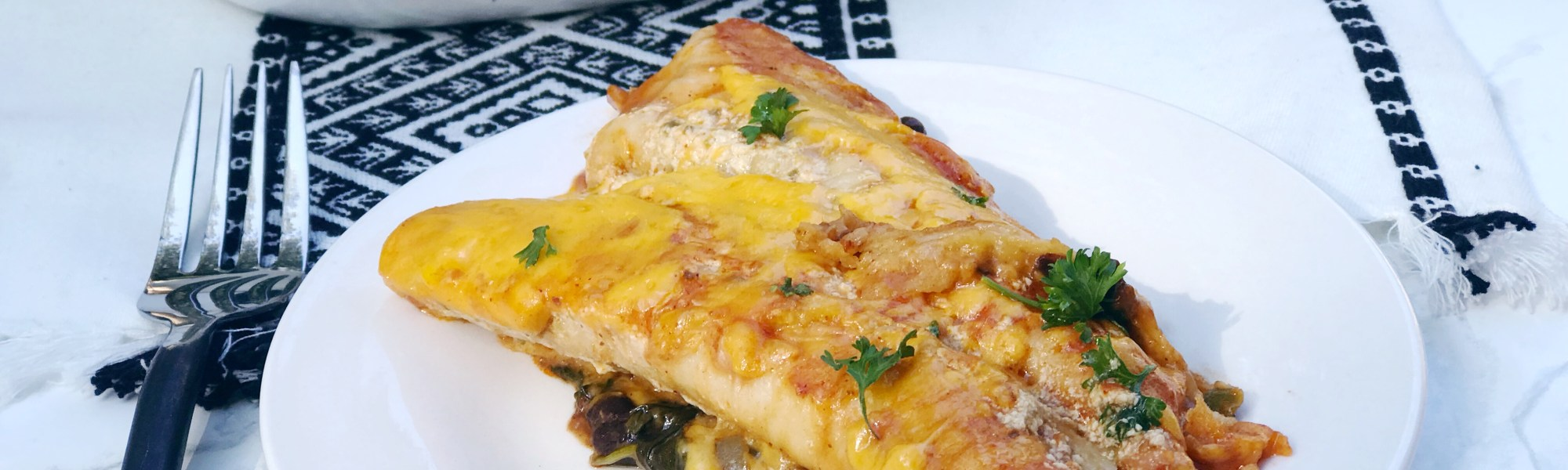 easy black bean and spinach enchiladas