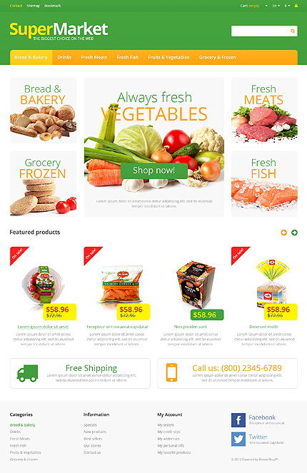 online grocery shopping website templates