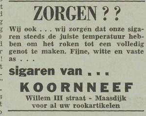 Advertentie van Koornneef geplaatst bij de berichtgevind in De Westlander