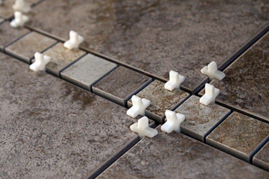 Tile is glued in
