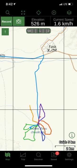 Hot spring hiking Gaia map