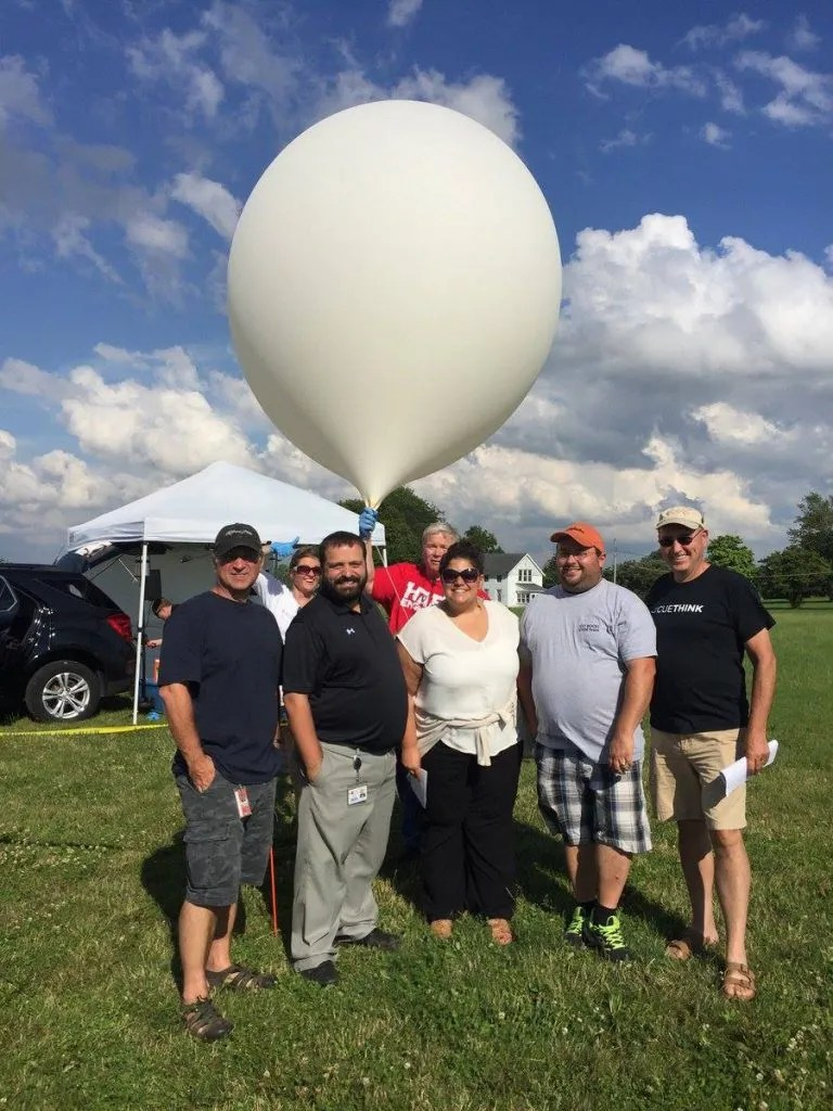 Teachers learning about high altitude weather balloons!