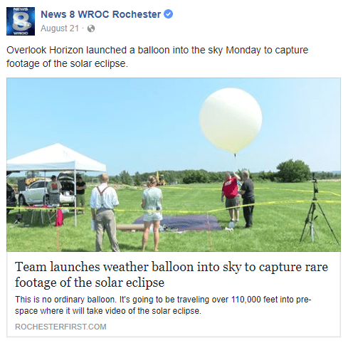 Weather balloon launched into sky to capture rare footage of solar eclipse