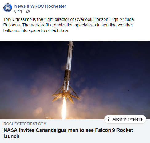 NASA invites Canandaigua man to see SpaceX Falcon 9 rocket launch