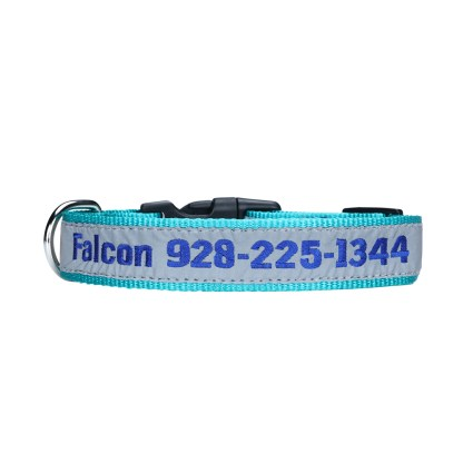 pink personalized embroidered collar with blue thread