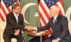 Shahid Khaqan Abbasi with US Vice President