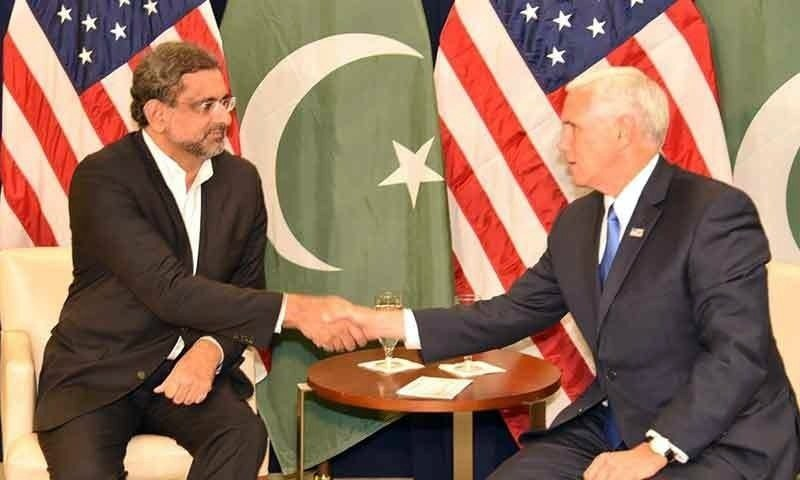Shahid Khaqan Abbasi with US Vice President