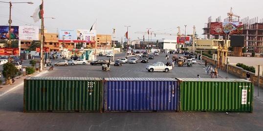 Roads blocked in karachi