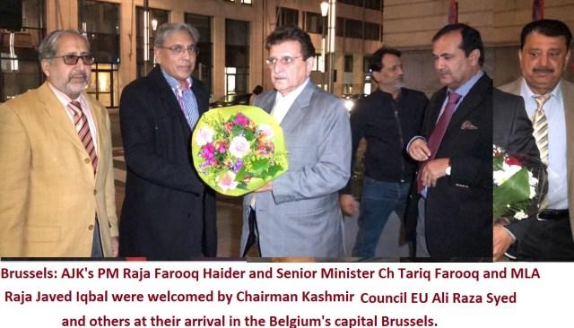 PM AJK Raja Farooq Haider Khan Arrives in Brussels Belgium, Ali Raza Syed welcomes him