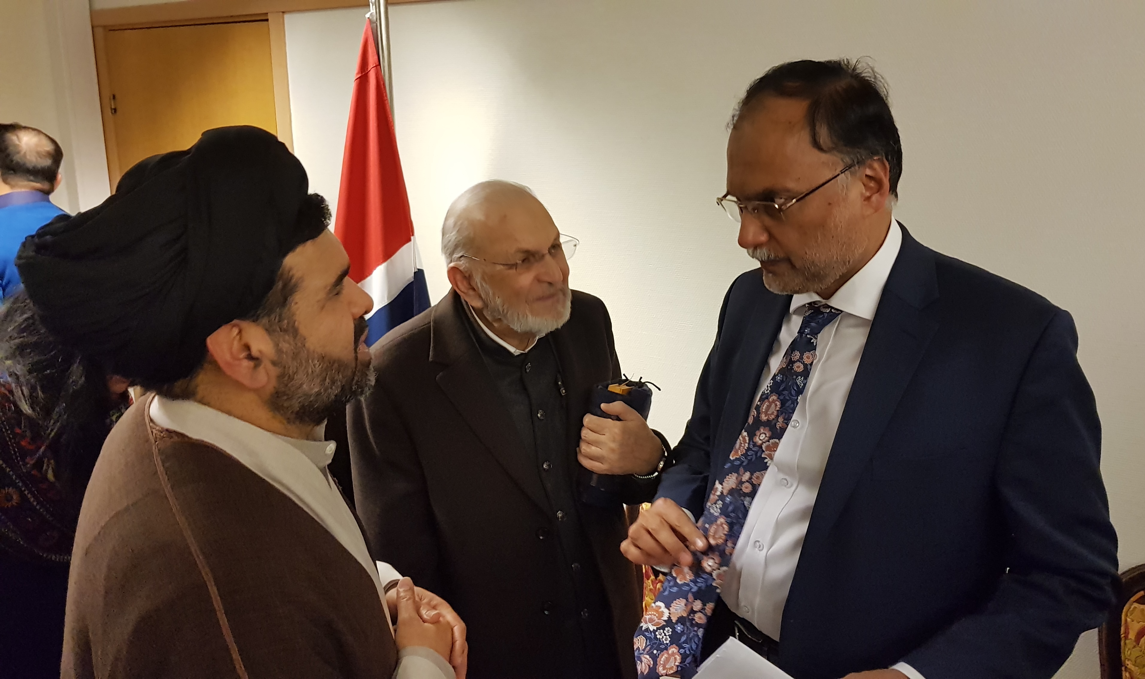 Dr Syed Zawar Shah and Ahsan Iqbal in Oslo Norway