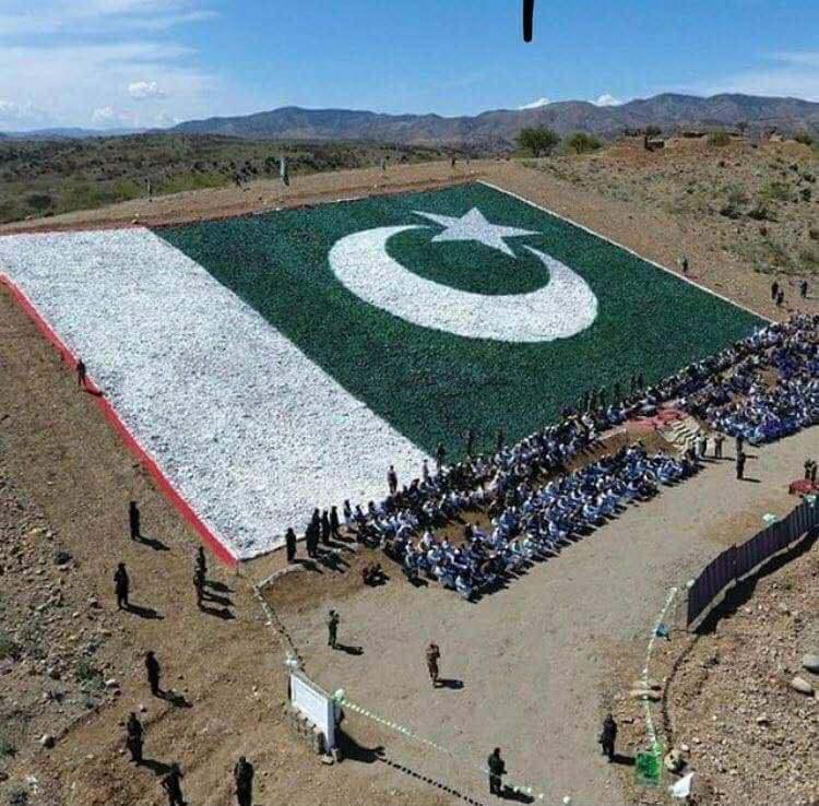 Usman Khan Wazir Biggest Flag with Stones