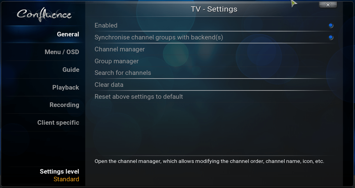 Kodi TV settings general