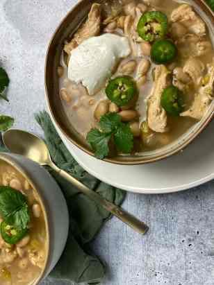 White Chicken Chili in bowls