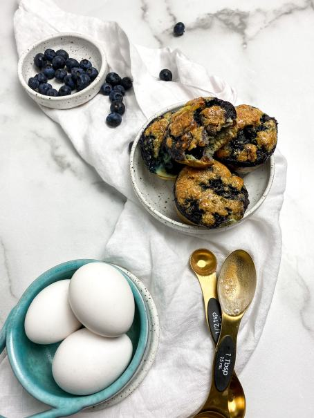 cooked protein blueberry muffins
