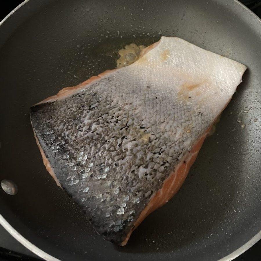 pan sear salmon face down