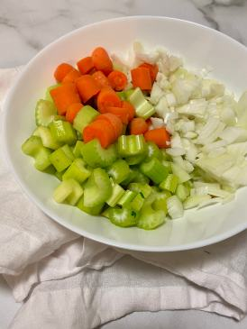diced celery, onion, and carrots