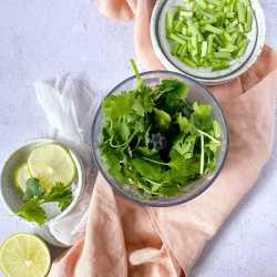 cilantro in a blender