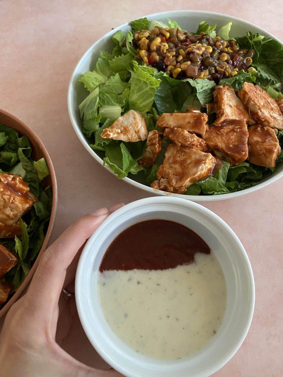 bowls of panera bbq chicken romaine and corn