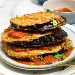 a stack of fried eggplant