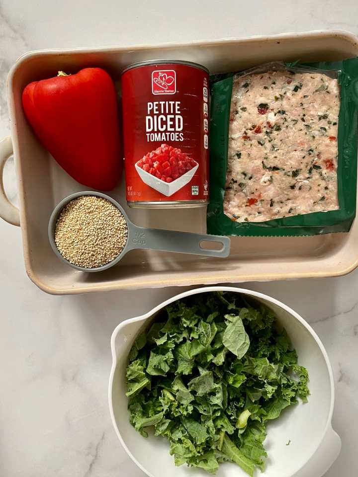 italian chicken sausage, kale, tomatoes, quinoa, and a red bell pepper