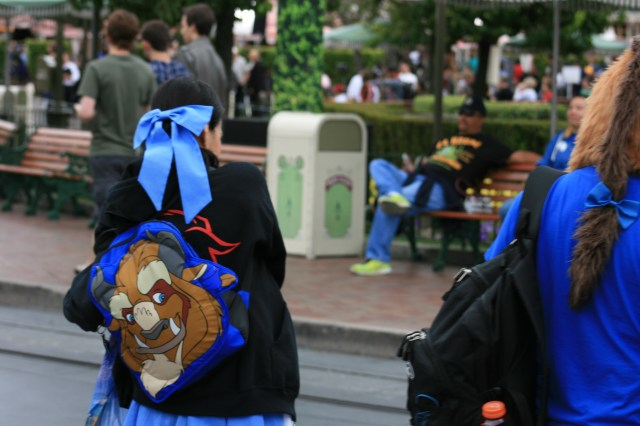 Look at her backpack!