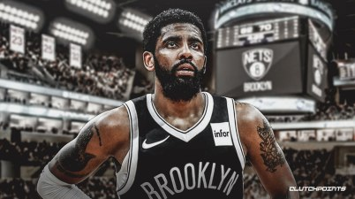 Kyrie Irving in a Nets jersey