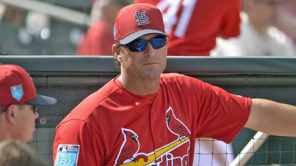 Mike Matheny in the dug out during his time as the Cardinals manager.