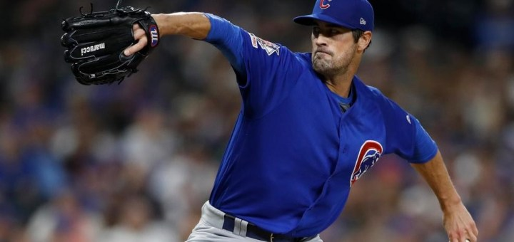 Cole Hamels pitching last year for the Chicago Cubs