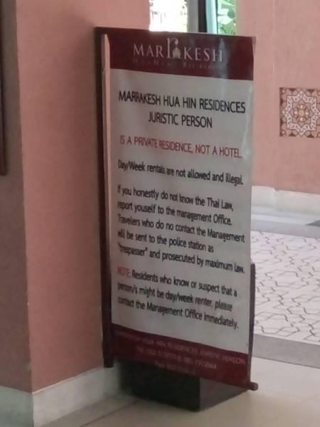 Airbnb Thailand Marrakesh short rentals forbidden