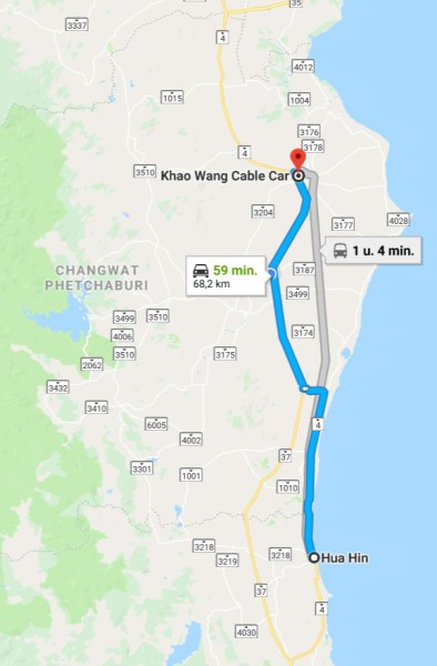 google map naar Khao Wang Petchaburi