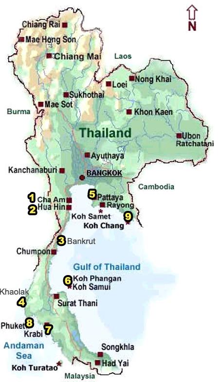 9 badplaatsen Thailand
