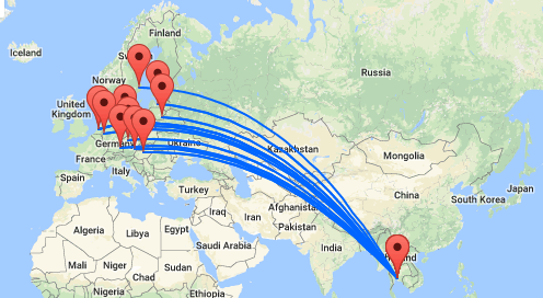 Vanaf Europa naar Thailand