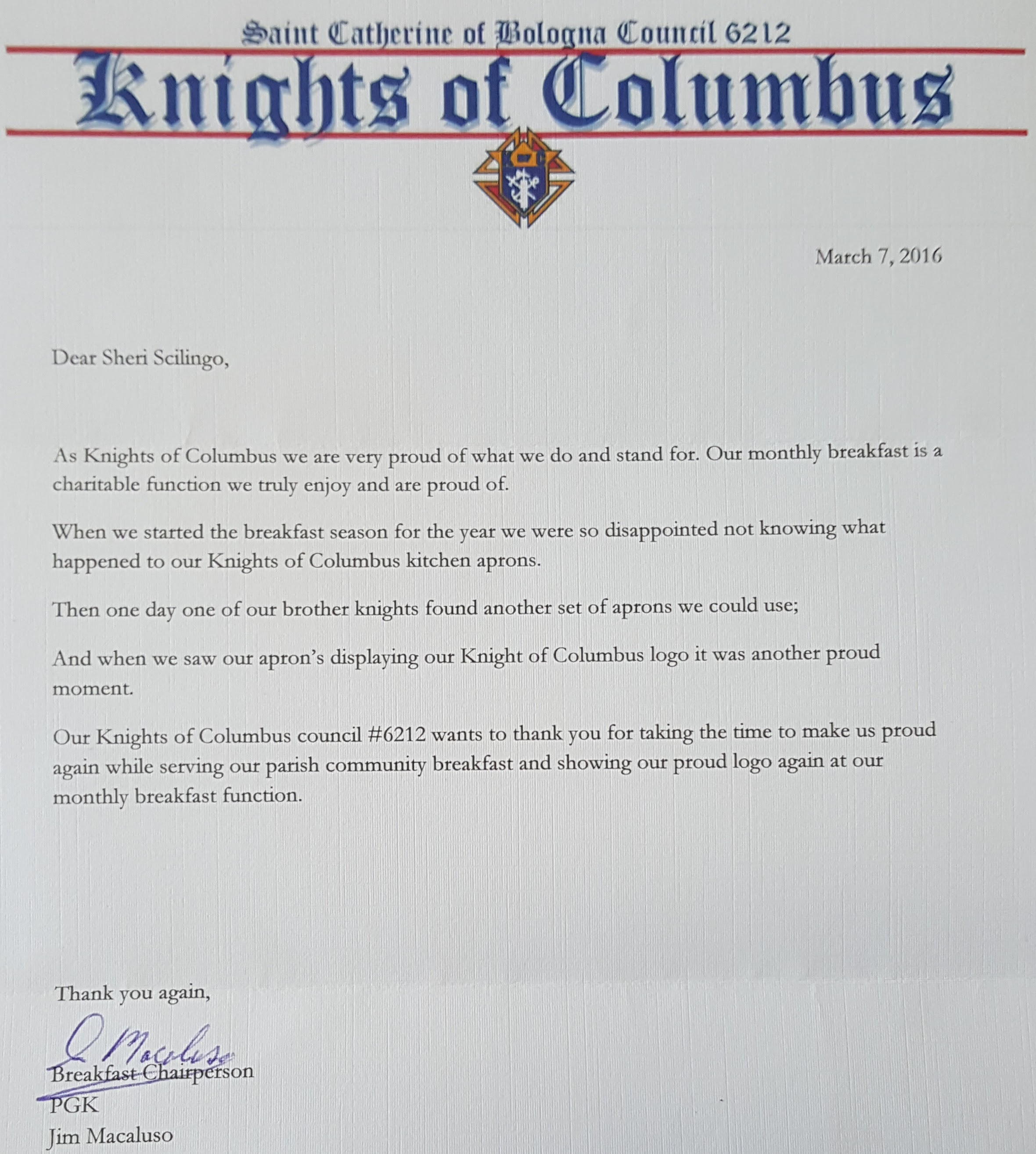 It's so important to support charitable organizations like the Knights of Columbus