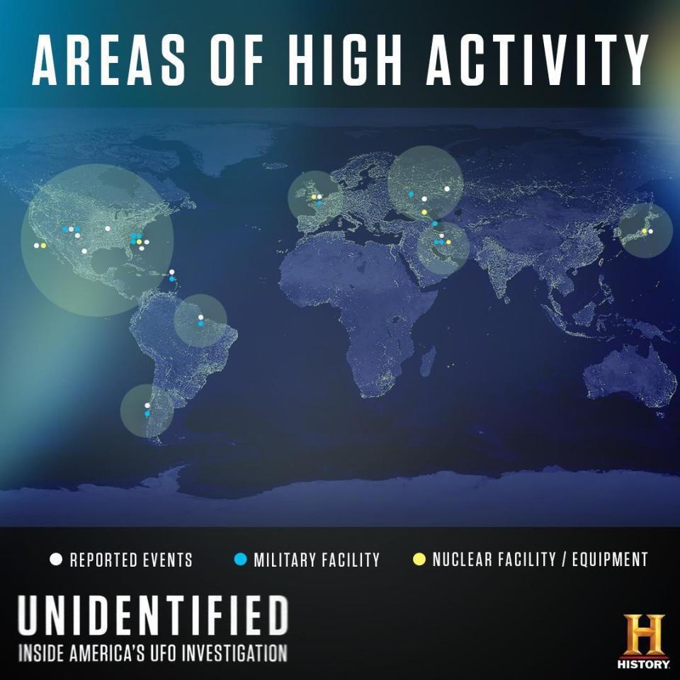 mapa de alta atividade de OVNIs