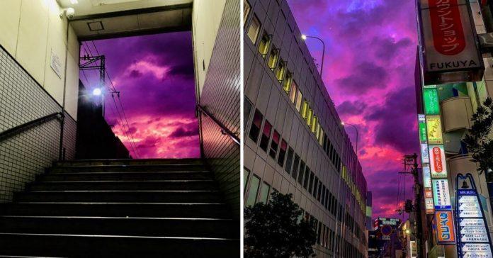 Céu do Japão ficou roxo quando tufão assassino se aproximou